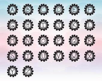 Unique vector Gears font, Vectorized letters, Full vector alphabet, Svg Dxf Eps Pdf Png file format, Digital download font for vinyl cuts