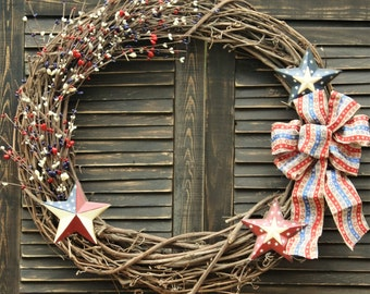 Rustic Fourth of July Grapevine Wreath
