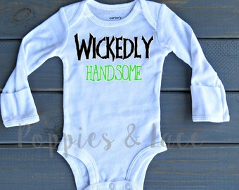 Wickedly Handsome Bodysuit, Baby Boy's First Halloween, Boys' Halloween Shirt,