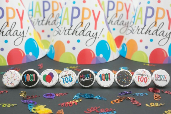 Happy 100th birthday party favor sticker by distinctivs on for 100th birthday decoration ideas