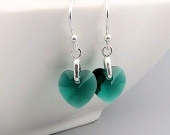 Emerald Heart Earrings - Swarovski crystal - sterling silver, May birthstone earrings, emerald green wedding jewelry