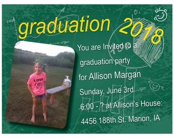 Chalk Board Graduation Invitation Announcement