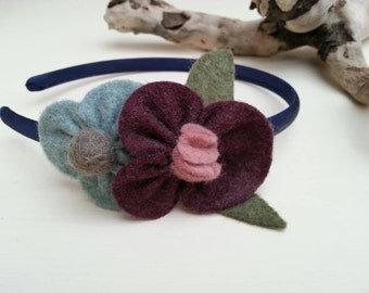 Girls handmade felt flower headband