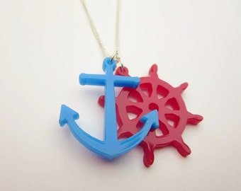 Red and Blue Laser Cut Acrylic Nautical Pendant Necklace