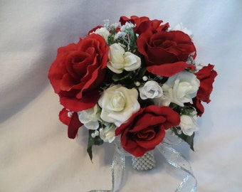 Silk flowers, bridesmaid bouquet, red roses, babies breath, ribbon, handmade