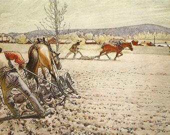 Vintage 1976 Carl Larsson Original Art Print *PLOUGHING* Beloved Swedish Artist. Farm, Horses, Field. Lovely, Colorful Home Decor
