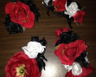 Flower hair clips - set of 4