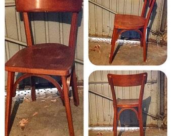 Vintage wooden Bistro Chair. 50's. Style Baumann
