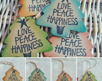 Love, Peace, Happiness Christmas gift tags. Pack of 10, Distress ink effect. Gift tags/ Christmas/ Presents.