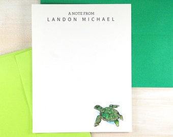 Kids Personalized Stationery Set, Kids Personalized Gifts, Watercolor Stationary Set, Sea Turtle, Custom Stationary Set of 12