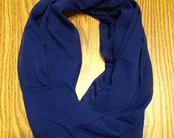 Dark Blue Black Polka Dot Sheer Homemade Infinity Scarf