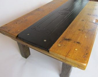 Floorboard, slate and pier coffee table