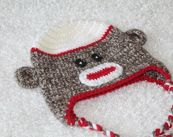 Crochet Sock Monkey Toddler Hat with Ear Flaps, Size 2-4 years