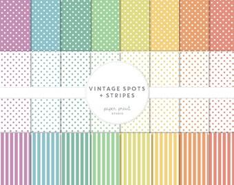 vintage spots and stripes - digital paper