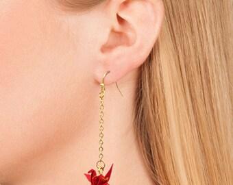 Dangling Origami Crane Earrings