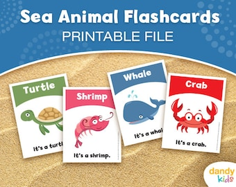 Sea Animal Flashcards / Printable Flashcards / Set of 12 / Educational Flashcards