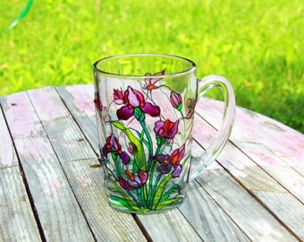 Stained Glass Irises Mug - Coffee Mug Tiffany Style - Hand Painted Cup - Iris Flowers Coffee Mug - Personalized Mug - Hand Painted Glass Mug