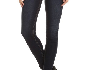 Enjean Women's Saturated Skinny Jeans with Contrast Stitching, Dark Wash
