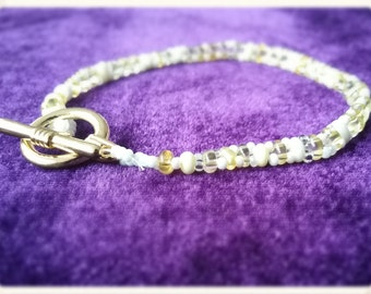 Bead bracelet, toggle clasp, handmade, limited edition