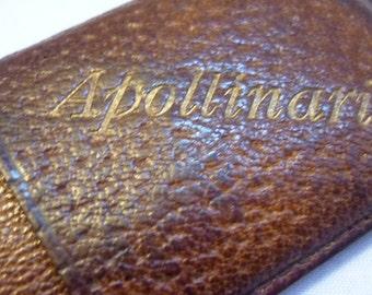 Antique Brown Leather German Apollinaris Match Vesta Case with matches