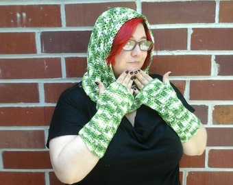 Ombre green hooded cowl