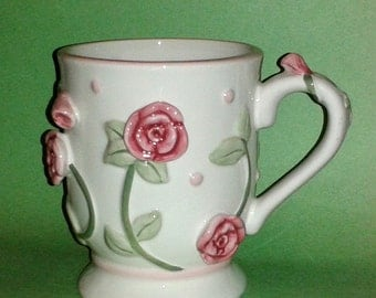 Very Rare BURTON & BURTON Jumbo 3D Coffee Mug - Decorated with Lovely Applied Pink Roses