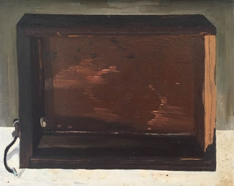 Box, painterly oil painting on canvas, still life, small painting, thick paint, layers