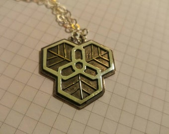 Gold 14k & Sterling silver 925 geometric necklace