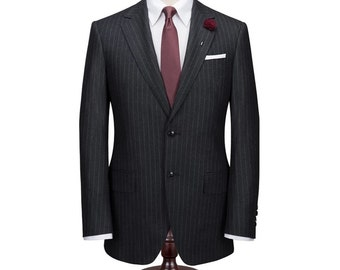 Black Pinstripe Custom Fitted Suit