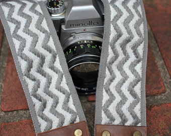Cotton camera strap, gray white zig-zag cotton trim, 2 inch (51mm), leather, DSLR, SLR, You and Me and the Moon