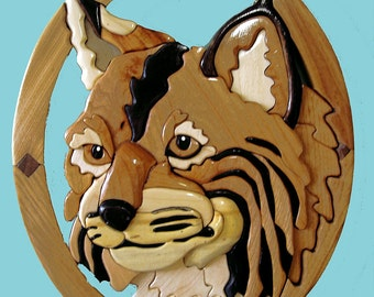 Bobcat Wild Animal Wood Sculpture, Intarsia Wood Art Wall Hanging, Feline Wildlife Wood Carving in Elliptical Frame, Unique Cat Wood Art
