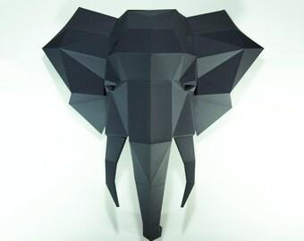 Elephant Head,Elephant paper, Elephant lowpoly, Paper Trophy Elephant,papercraft,3D Puzzle diy, DIY, 3D, trophy, papermodel, wall decoration