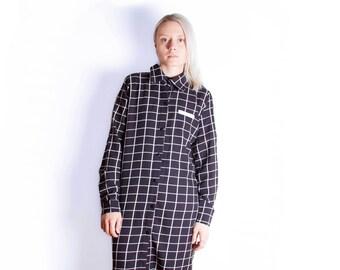 Black & White Check Minimal Button-Up Shirt Dress // BNWT