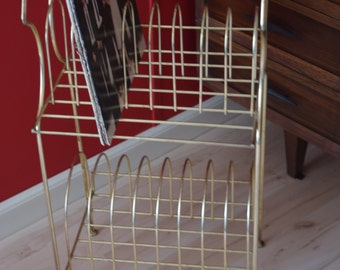 Atomic Gold Wire Record Stand / Holder Mid Century Modern 2 Tier