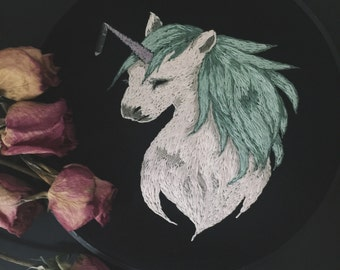 crystal unicorn - handmade embroidery with real quartz point