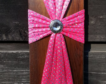 Vibrant Pink Fabric Reclaimed Wood Cross