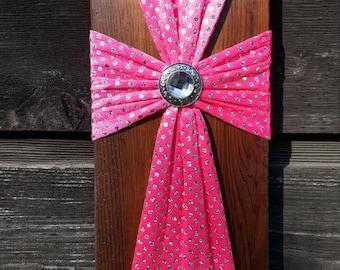 Vibrant Pink Fabric Reclaimed Wood Cross