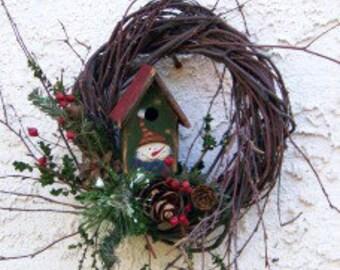 Birch with Winter Birdhouse