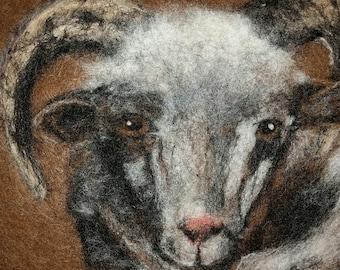 Needle Felted portrait of Jacob Sheep