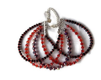 MULTISTRAND bracelet glass beads and Swarovski red, grey and black