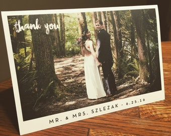 Custom Photo Wedding Folded Thank-You Cards -  Digital File or Printed -  Vertical or Horizontal