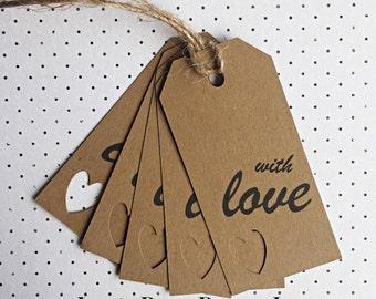 With love gift tag pack of 5, hang tag, cutout tag