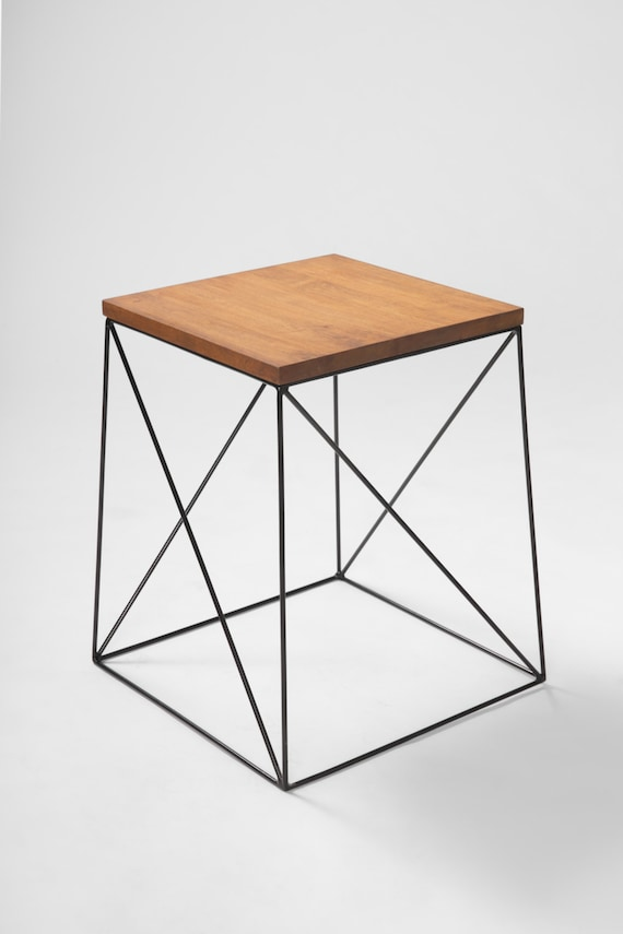 Items Similar To Metal Wood Coffee Table Small Desk Or Chair Metal Bedside Table Modern