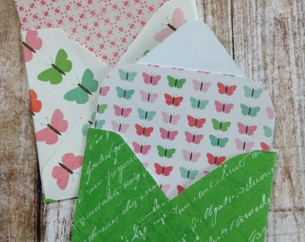 Mini Envelopes with Note Inserts/Garden Style Note Cards with Envelopes and Seals/Envelopes with Insert Cards/Butterfly Cards/Set of 8