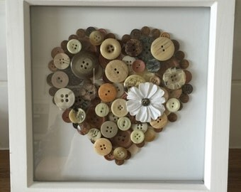 Brown, Cream and Neutral Button Heart in White Deep Box Frame Picture