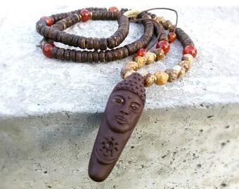 Buddha Pendant Yoga gemstone necklace Tibetan buddhist Medallion Adjustable Buddha jewelry Spiritual necklace Yoga gift Tibetan copper beads