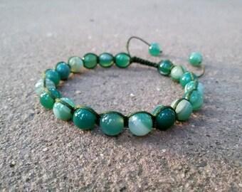 Green shamballa bracelet Green Agate jewelry for Virgo bracelet September Birthstone Gift for Her Mackame bracelet Agate Yoga bracelet