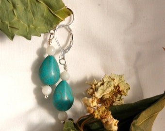 Turquoise Stone and White Glass Bead Earrings