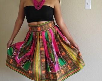 Dashiki Midi skirt, Fuchsia skirt, African print midi skirt,  Midi skirt, Angelina skirt, ankara short skirt, high waist skirt, short skirt