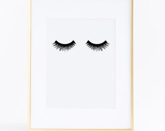 50% OFF Eyelashes poster. Printable lashes. Fashion artwork. Instant download.  Lashes print. Makeup print. Beauty poster. Girls decoration.